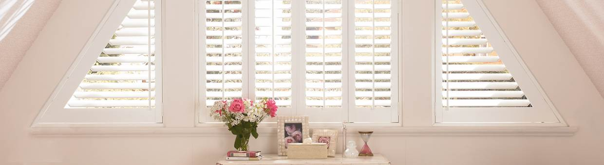 brown wood shutters